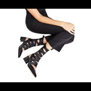 Zara Lace tie up Ballerina heels sz 40 Blk
